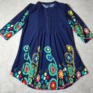 Reborn Tunic Top Pintuck Floral Print 3/4 Sleeve